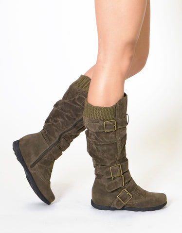 Womens Knee High Boots Ruched Suede Knitted Calf Buckles Rubber Sole  Olive