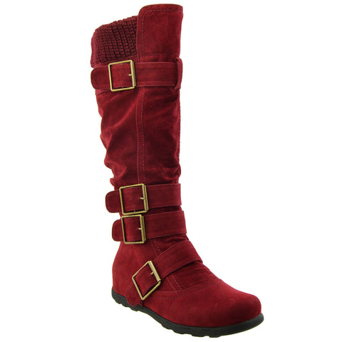 Womens Knee High Boots Ruched Suede Knitted Calf Buckles Rubber Sole  Burgundy
