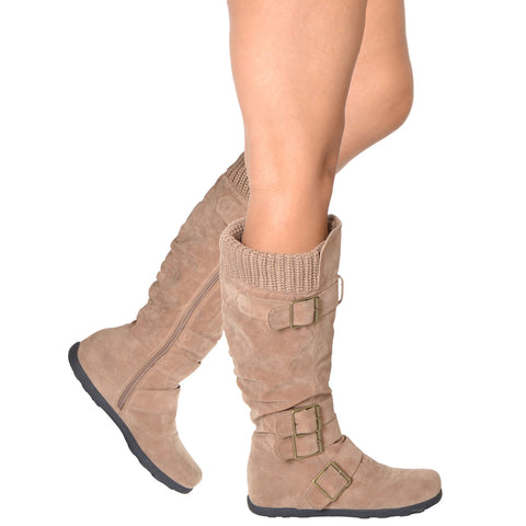 Womens Knee High Boots Ruched Suede Knitted Calf Buckles Rubber Sole Taupe