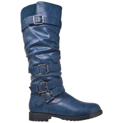 Womens Knee High Boots Strappy Ruched Leather Adjustable Buckle Shoes Teal
