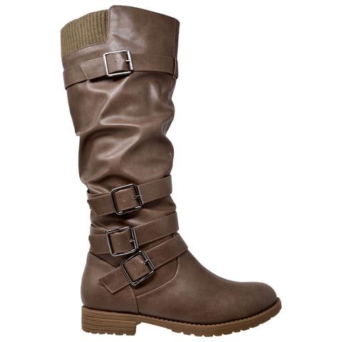 Womens Knee High Boots Strappy Ruched Leather Adjustable Buckle Shoes Taupe