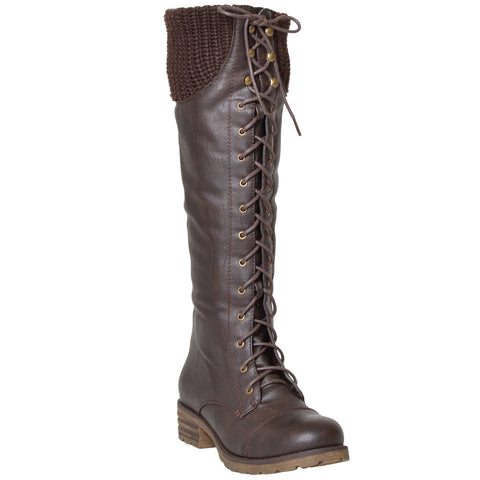 Womens Knee High Boots Knitted Calf and Lace Up Zipper Closure Comfort Shoes Brown