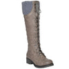 Womens Knee High Boots Knitted Calf and Lace Up Zipper Closure Comfort Shoes Gray