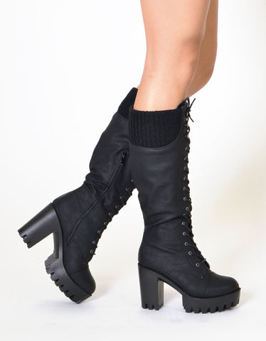 Womens Combat Heeled Knee High Boots Black