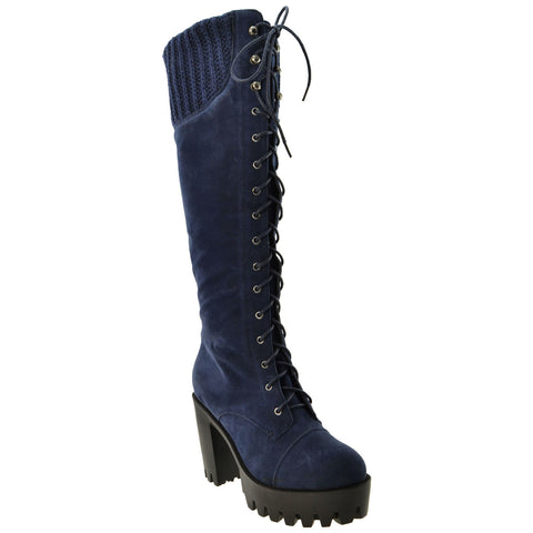 Womens Combat Heeled Knee High Boots Blue