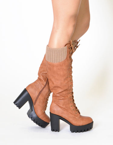 Womens Combat Heeled Knee High Boots Tan