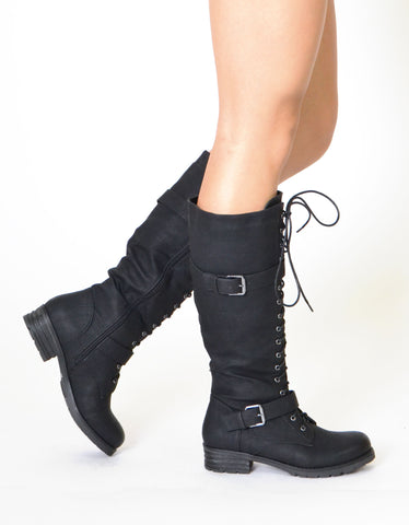 Womens Knee High Lace Up Western Boots Black