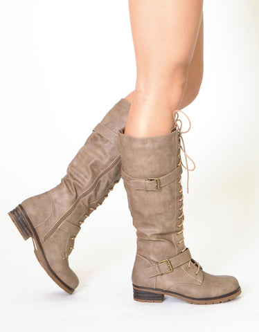 Womens Knee High Lace Up Western Boots Taupe