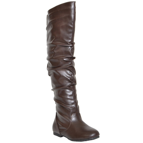 Womens Over the Knee Boots Brown
