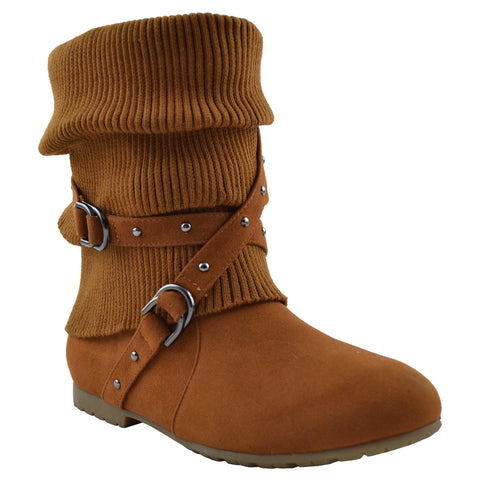 Womens Ankle Boots Slouch Knitted and Suede Cross Strap Buckles Tan