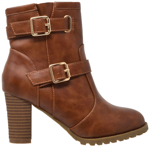 Womens Ankle Boots Gold Buckle Strap  Block Heel Booties Brown