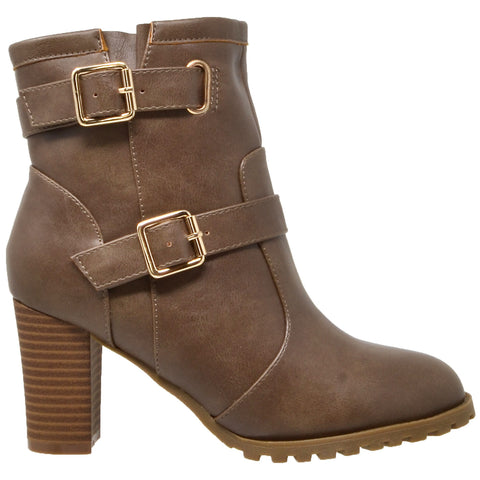 Womens Ankle Boots Gold Buckle Strap  Block Heel Booties Taupe