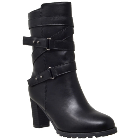 Womens Mid Calf Boots Strappy Buckle Studded Block Heel Shoes Black