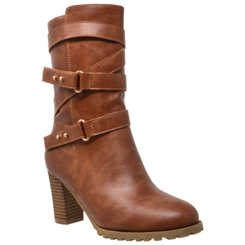 Womens Mid Calf Boots Strappy Buckle Studded Block Heel Shoes Brown