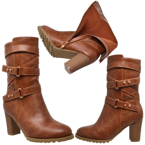 449bdb6799b Womens Mid Calf Boots Strappy Buckle Studded Block Heel Shoes Brown