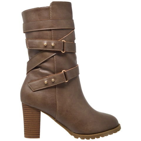 Womens Mid Calf Boots Strappy Buckle Studded Block Heel Shoes Taupe