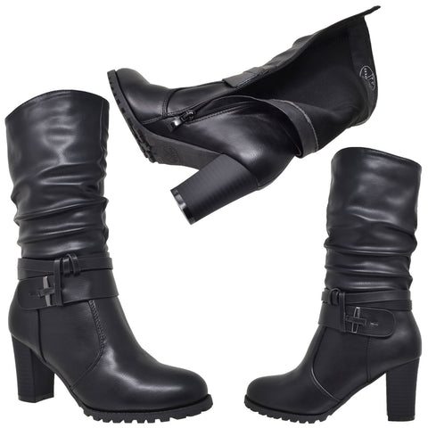 7380fcedb329 Womens Mid Calf Boots Faux Leather Ruched Strappy Stacked Block Heel Shoes  Black