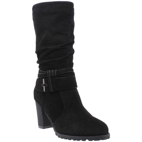 Womens Mid Calf Boots Faux Suede Ruched Strap Stacked Block Heel Shoes Black