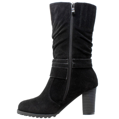 63da1ee0ccf4 Womens Mid Calf Boots Faux Suede Ruched Strap Stacked Block Heel Shoes Black
