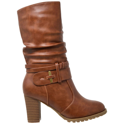 Womens Mid Calf Boots Faux Leather Ruched Strappy Stacked Block Heel Shoes Brown