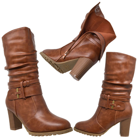 3e8f7e6c883 Womens Mid Calf Boots Faux Leather Ruched Strappy Stacked Block Heel Shoes  Brown