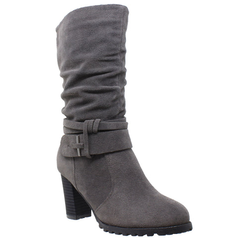 Womens Mid Calf Boots Faux Suede Ruched Strap Stacked Block Heel Shoes Gray