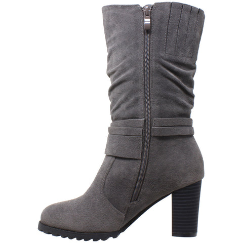 a433b7329dac Womens Mid Calf Boots Faux Suede Ruched Strap Stacked Block Heel Shoes Gray