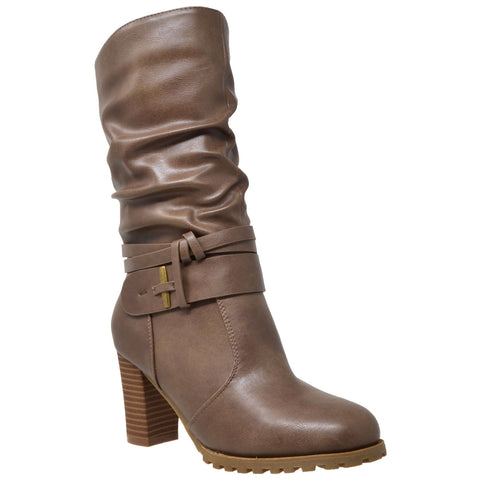 Womens Mid Calf Boots Faux Leather Ruched Strappy Stacked Block Heel Shoes Taupe