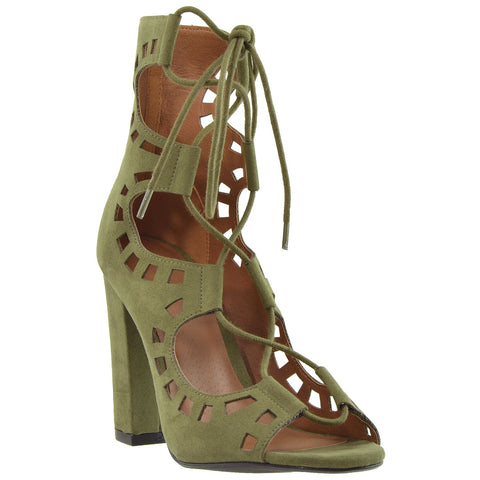 Womens Ankle Boots Lace Up Ghillie High Heel Shoes Olive