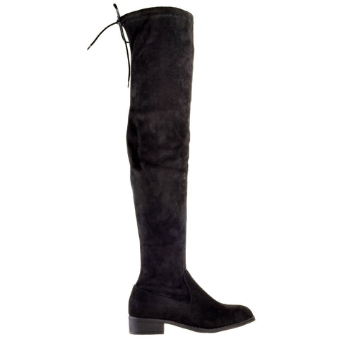 Womens Knee High Boots Lace Up Block Heel  Over the Knee Riding Boots Black
