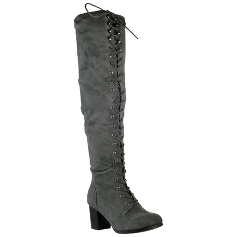 Womens Knee High Boots Chunky Block Heel Retro Lace Up Western Shoes Gray