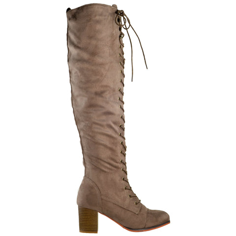 Womens Knee High Boots Chunky Block Heel Retro Lace Up Western Shoes Taupe