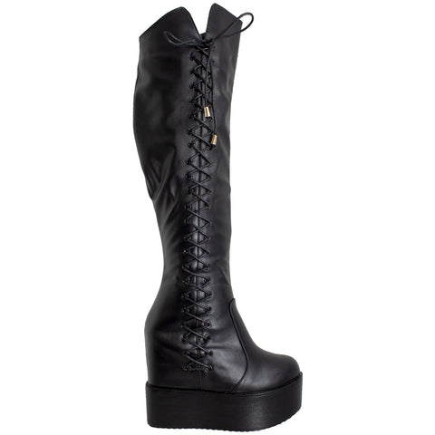 Womens Knee High Boots Corset Lace Up Platform Wedge Shoes Flatforms Black
