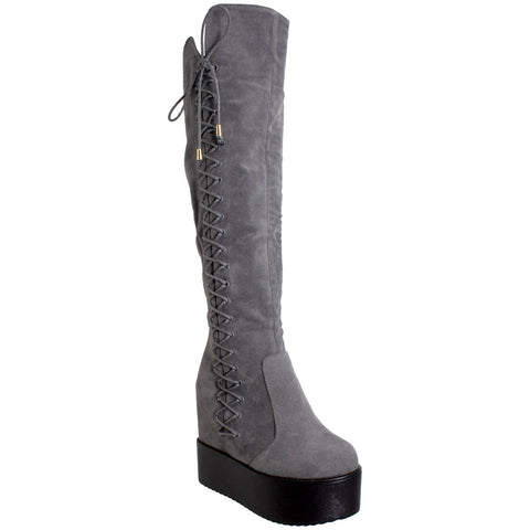 Womens Knee High Boots Corset Lace Up Platform Wedge Shoes Flatforms Gray