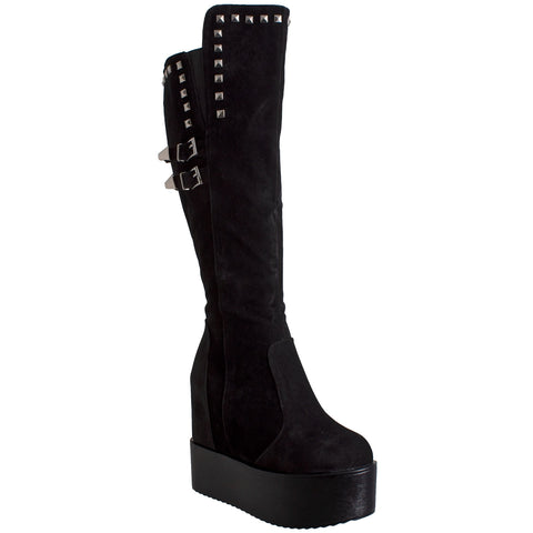 Womens Knee High Boots Square Stud Buckle Strap Platform Wedge Shoes Flatforms Black