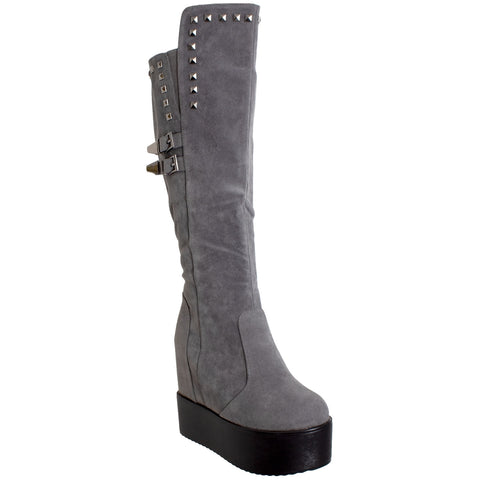 Womens Knee High Boots Square Stud Buckle Strap Platform Wedge Shoes Flatforms Gray