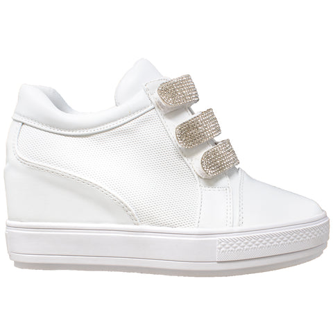 Womens Platform Shoes Rhinestone Accent Low Top Hidden Wedge Sneakers White