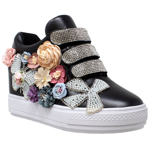 0d05c6f45ef1 Womens Platform Shoes Rhinestone Pearl Flower Accent Hidden Wedge Snea