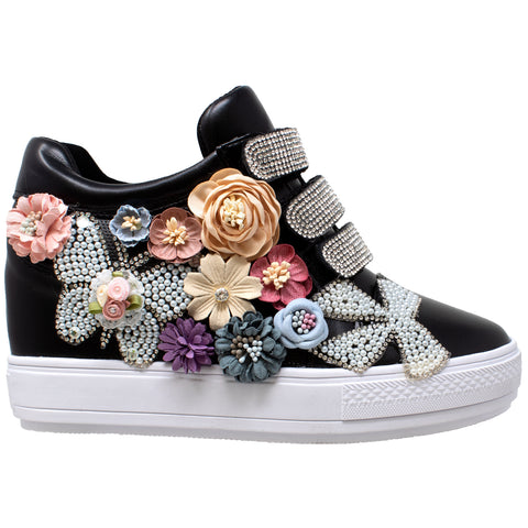 Womens Platform Shoes Rhinestone Pearl Flower Accent Hidden Wedge Sneakers Black