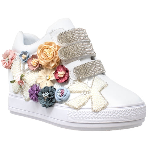 092f0ff2d5f0 Womens Platform Shoes Rhinestone Pearl Flower Accent Hidden Wedge Sneakers  White ...