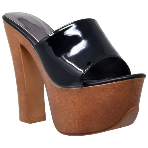 Womens Platform Sandals Slip On Open Toe Faux Wood Chunky High Heel Shoes Black