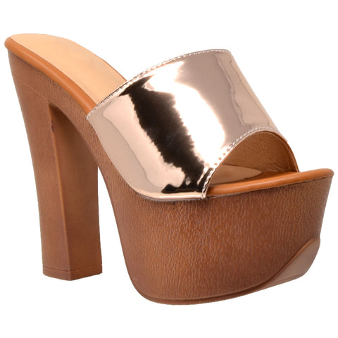 Womens Platform Sandals Slip On Open Toe Faux Wood Chunky High Heel Shoes Rose Gold
