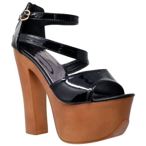 Womens Platform Sandals Peep Toe Ankle Strap Retro High Heel Shoes Black