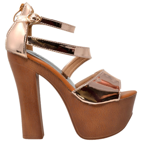 Womens Platform Sandals Peep Toe Ankle Strap Retro High Heel Shoes Rose Gold