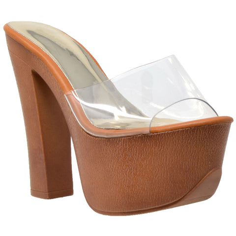 Womens Platform Sandals Slip On Faux Wood Chunky Heel Shoes Clear
