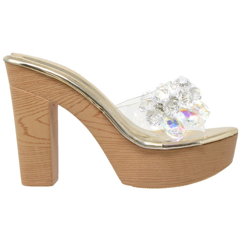 Womens Platform Sandals Jewel Crystal Accent Slip On High Heel Shoes Gold