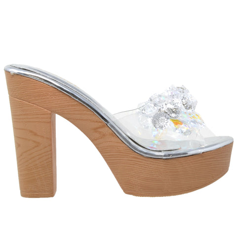 Womens Platform Sandals Jewel Crystal Accent Slip On High Heel Shoes Silver