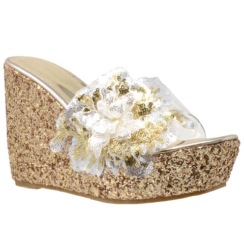 Womens Platform Sandals Glitter Flower Sequins Slip On Wedges Gold