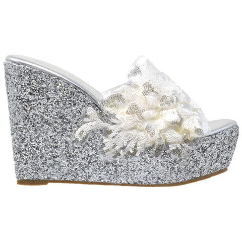 Womens Platform Sandals Glitter Flower Sequins Slip On Wedges Silver