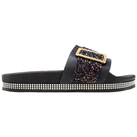 Womens Platform Sandals Glitter Buckle Rhinestone Slip On Flatform Slide Black